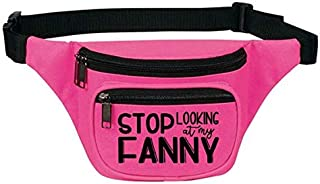 Cute Fanny Pack for Women - Waist Belt Bag, Phanny Pack for Travel, Gym - Great Gift (Stop Looking at My Fanny Pink)