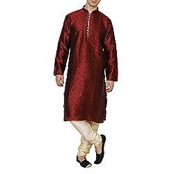 Royal Kurta Mens Jacquard Silk Floral Kurta Pyjama