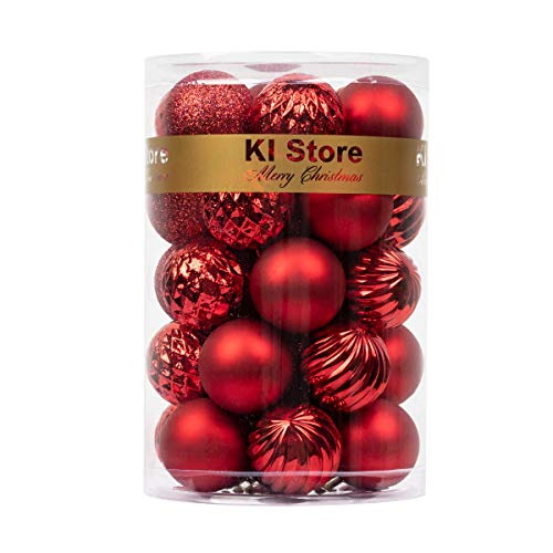 "KI Store 34ct Christmas Ball Ornaments 1.57"" Small Shatterproof Christmas Decorations Tree Balls for Holiday Wedding Party Decoration, Tree Ornaments Hooks Included (Red, 1.57-Inch)"