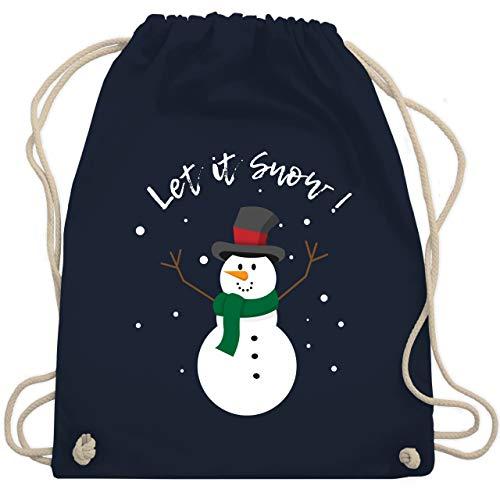 Shirtracer Weihnachten Kind - Schneemann Let it snow - Unisize - Navy Blau - schneemann turnbeutel - WM110 - Turnbeutel und Stoffbeutel aus Baumwolle