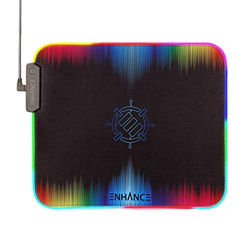 ENHANCE Large RGB Gaming Mouse Pad XL with Clear Optical Fiber Edges - Mouse Mat with 7 LED Colors & 3 Lighting Effects, Smart Control Button, Non-Slip Grip, Precision Tracking for Esports - Black