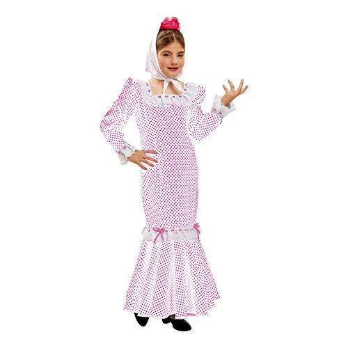 Desconocido My Other Me - Disfraz de madrileña para niña, talla 7-9 años, color blanco (Viving Costumes MOM02318)