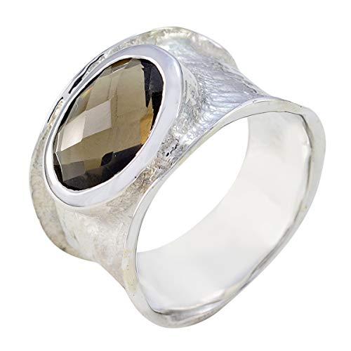 joyas plata gemas genuinas forma ovalada una piedra cheker anillo de cuarzo ahumado - anillo de cuarzo ahumado marrón de plata esterlina - nacimiento de enero capricornio