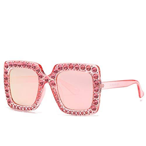 LALB Gafas De Sol, Mujeres Europeas Y Americanas con Gafas De Sol De Marco De Diamantes, Gafas Cuadradas Grandes, Gafas De Sol De Diamante Completo,B