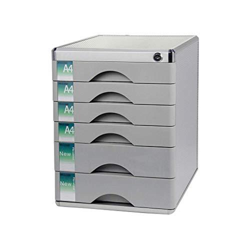 KANJJ-YU Escritorio del cajón clasificador, aleación de aluminio de 6 capas Periódico Bastidores cajón con cerradura de escritorio Organizador de cajones (de color plata de 12 pulgadas * * 14.4in 16.2