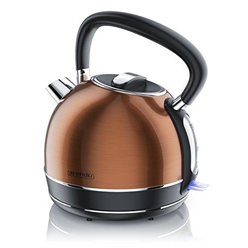 Arendo - Wasserkocher Edelstahl - Teekessel Retro Style - max. 2200W - Herausnehmbarer - austauschbarer Kalkfilter - Füllmenge 1,7 Liter - automatische Abschaltung - mit GS - Kupfer Design
