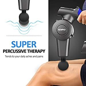 RENPHO R4 Massage Gun with Adjustable Arm, Percussion Muscle Massager Gun Handheld Deep Tissue, Back Massage Gun for Foot Arm Shoulder Athletes Sore Muscle Stiffness Pain Recovery Fathers Day Gifts