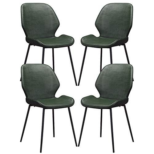 YAWEDA 4 Sillas de Comedor Asiento de Cuero Artificial Silla Diseño Silla Tapizada Estructura Metálica Respaldo Silla de Cocina (Color : Dark Green)