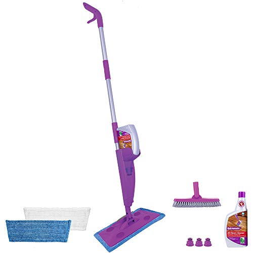 Rejuvenate Click N Clean Multi-Surface Spray Mop System Complete Bundle Includes Free Click-On Pro Grade Grout Brush 2 x Reusable Microfiber Pads 1 x 32oz No-Bucket Floor Cleaner