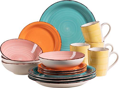 MÄSER 931498 Bel Tempo II 16-teiliges Vintage Geschirr-Set für 4 Personen, handbemaltes Keramik Kombiservice, bunt, Steingut
