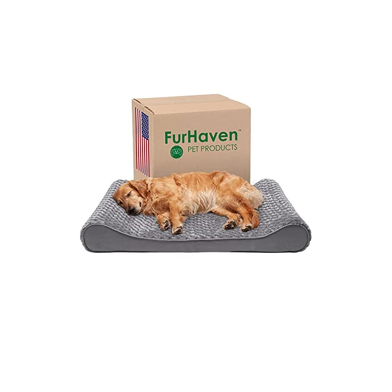 dog supplies online furhaven pet dog bed - orthopedic ultra plush faux fur ergonomic luxe lounger cradle mattress contour pet bed with removable cover for dogs and cats, gray, jumbo