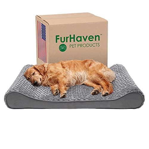 Furhaven Pet Dog Bed - Orthopedic Ultra Plush Faux Fur Luxe Lounger Contour Mattress Extra Large Dog Bed for Extra Large Dogs and Cats with Removable Cover, Gray, Jumbo