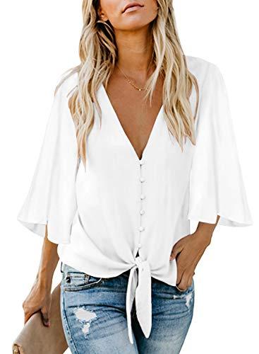 FIYOTE Damen Hemd Lose Langarmshirt Knopf Top Tunika Oberteile Hemd, 2-weiß, L