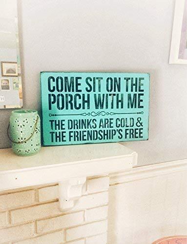 Free Brand Placa colgante de madera hecha a mano con texto en inglés 'Come Sit On The Porch with Me Porch Sign Welcome Rustic Decor 811006
