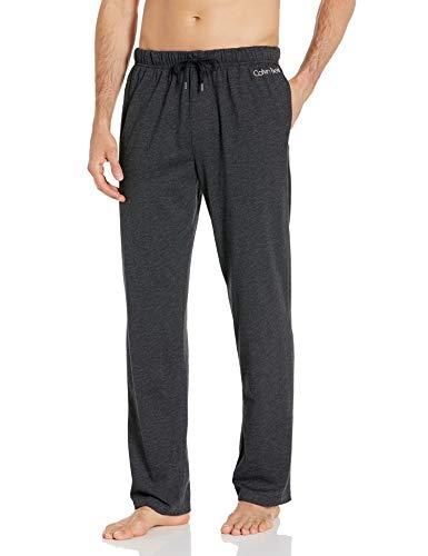 Calvin Klein Men's CK Chill Lounge Pant, Black Heather/Egret Logo, L