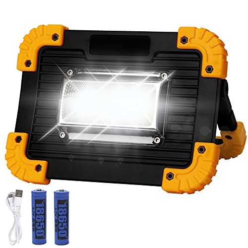 KAMEUN Luz de Trabajo LED Portátil, 20W Foco LED Recargable USB, 3 Modos, para Lluminación del Lugar, Trabajo Reparación Coches, Cámping, Emergencia
