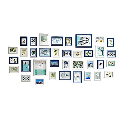 Meerfasige fotomuur, grote muur massief hout fotomuur, wandmontage fotolijst decoratie schilderij (92 * 191cm), een pak van 36