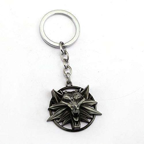 The Witcher 3 Keychain Wild Hunt Forma de Lobo Llavero Titular de Metal Moda Bolsa de Coche Chaveiro Llavero Colgante Juego Joya Colgante Tamaño: 4.4x4.0 cm guyin