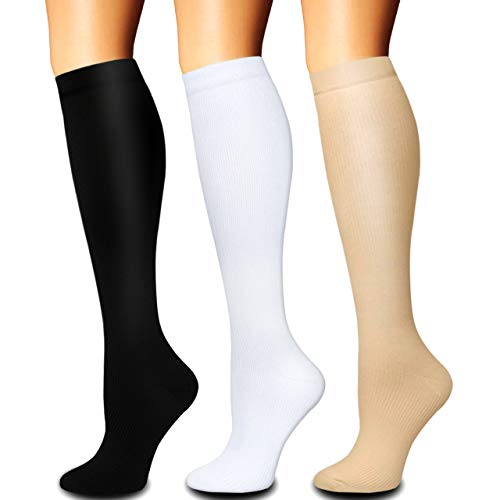 Compression Socks for Women and Men(1/3 Pairs)-Best for Running,Nursing,Circulation,Recovery & Travel (Multicoloured - 3 Pairs, Large/X-Large)