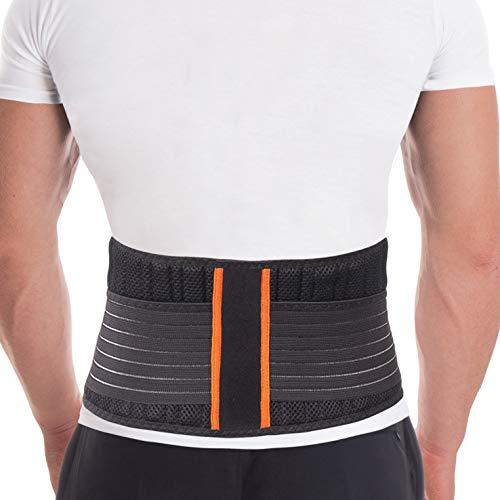 Rückenstützgürtel Rückengurt mit Stabilisierungsstäben zur Schmerzreduktion und Haltungskorrektur verstellbare Rückenstütze für Damen und Herren mit 8 Rippensteifen Höhe 18 cm Schwarz Large