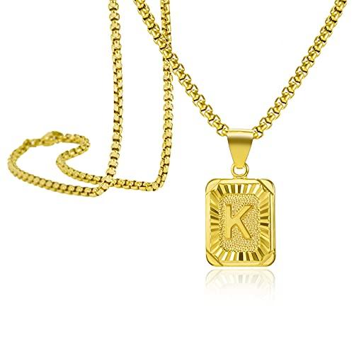 YIKOUQI Hombres Mujeres AZ Collar de Letra Inicial Oro Plata Color 26 Letras Alfabeto Collares Pendientes Joyería de cumpleaños Regalos