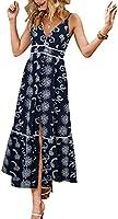 BerryGo Women's Embroidery Pearl Button Down Dress V Neck Spaghetti Strap Maxi Dress