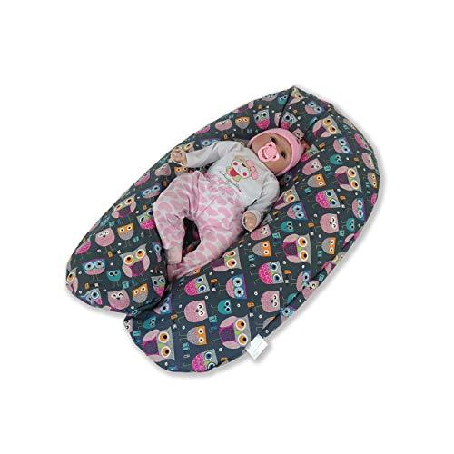 CorpoMed Stillkissen Maxi 194x34cm, Set inkl. Bezug (Eule Emma) , handgenäht aus Deutschland, waschbarer Bezug aus 100% Baumwolle, verwendbar als Schwangerschafts-Kissen und Lagerungskissen