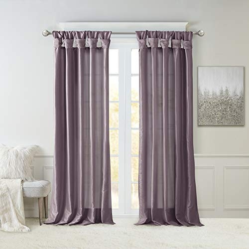 Madison Park Emilia Faux Silk Curtain with Privacy Lining, DIY Twist Tab Top, Window Drapes for Living Room, Bedroom and Dorm, 50x108, Purple