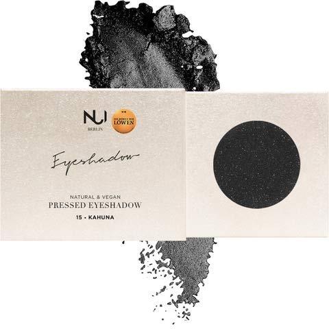 NUI Cosmetics Naturkosmetik vegan natürlich glutenfrei - Natural Pressed Eyeshadow 15 KAHUNA, schwarzer Lidschatten mit silbernem Glitzer und mattem Finish