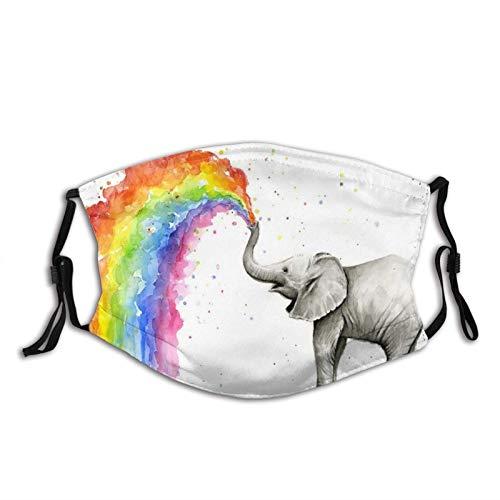Máscara facial a prueba de viento de moda para decoración unisex, lindo elefante de bebé rociando pintura de acuarela arco iris