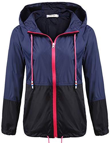 Unibelle Damen Regenjacke Leichte Kurze Jacke mit Atmungsaktiv Futter Herbst wasserdichte Übergangjacken mit Kapuze Navyblau S