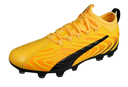 PUMA ONE 20.3 HG Men's Leather Soccer Cleats Hard Ground-Yellow-8