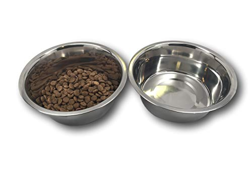 """Stainless Steel Dog Bowl Set, 8"""" Large, 64oz/2-Quart, Two Bowls One Low Price! Without Sticker."""
