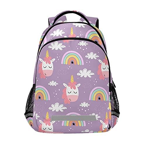 Mochila para ordenador portátil para niñas y niños escolares, duradera historieta Unicornios Rainbow Bookbag con tira reflectante 42,4 x 29,5 x 17,5 cm