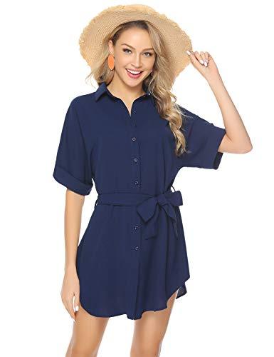 Abollria damska na co dzień z krótkim rękawem dla chłopaka luźna koszula topy plaża sukienka zakrycie