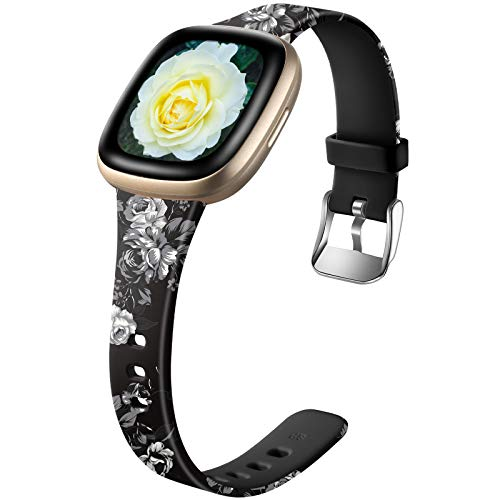 Ouwegaga Compatible with Fitbit Versa 3 Bands and Fitbit Sense for Women Girls, Cute Soft Slim Silicone Floral Pattern Printed Replacement Accessories for Fitbit Sense Smart Watch, Grey Floral Small