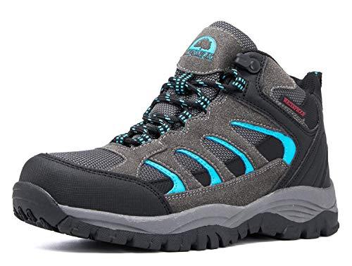Brown Oak Womens Waterproof Outdoor Shoes Casual Trekking Work Hiking Boots (Grey, 10)