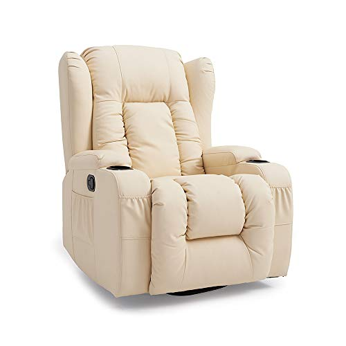 furniture-uk-shop Stunning Caesar Leather Armchair Recliner Chair Rocking Massage Swivel Heated Sofa (cream)
