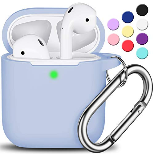 AirPods Case Cover with Keychain, R-fun Full Protective Silicone AirPods Accessories Skin Cover for Women Girl with Apple AirPods Wireless Charging Case,Front LED Visible-Sky Blue