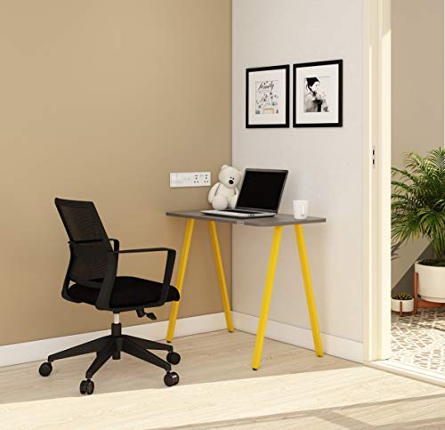 SOS Spacewood LiteOffice A Line Desk Home and Office Table Standard (Yellow)