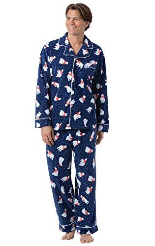 PajamaGram Pajamas Set for Men - Fleece Men Christmas Pajamas, Bear, Navy, LG