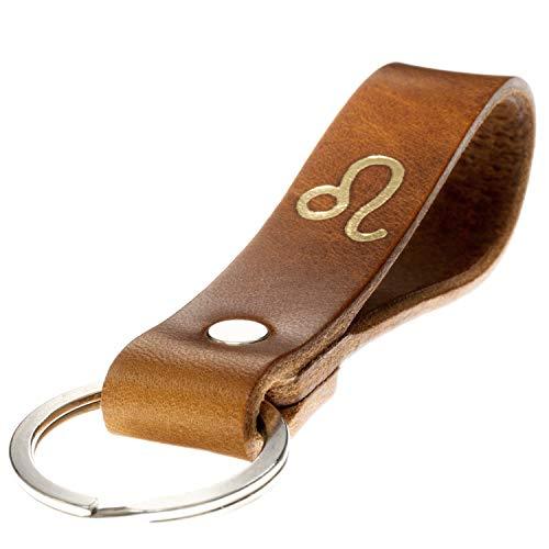 LIEBHARDT Schlüsselanhänger Leder mit Sternzeichen in Gold geprägt das Geschenk zum Geburtstag für deinen Lieblingsmensch ob Frau oder Mann Handmade in Germany (Löwe)