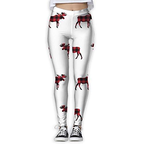 DLing Pantalon de Jogging à Carreaux pour Femme, Noël, Buffalo, à Carreaux et imprimé Moose,L