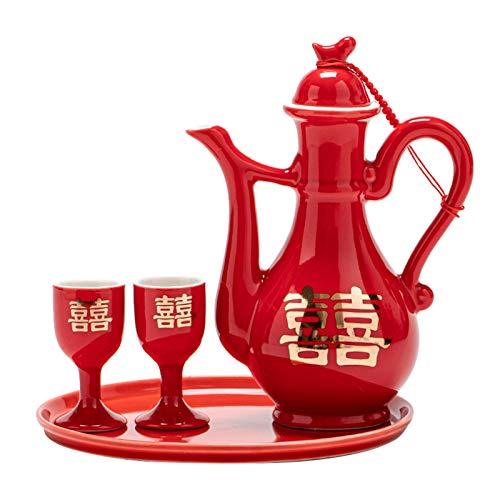 Juego de Sake de Estilo Chino, Juego de Saki Caliente de cerámica Tradicional de 4 Piezas Que Incluye 1 Bandeja de 1 Olla de Sake y 2 Tazas de Sake, para Juegos de Regalo de Licor japonés más cálido