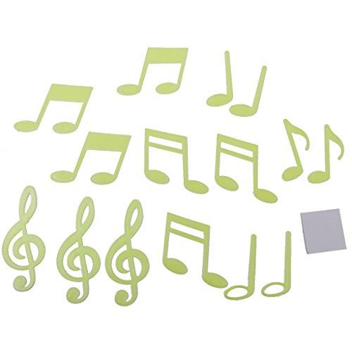 14pz Luminoso Adesivi Da Parete Nota Musicale Decorazioni Muro Letto Bambini
