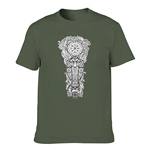 Camiseta de algodón para hombre Viking Popular cómoda – Tema tops verde militar XXXXL