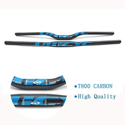 Leichte MTB Fahrradlenker, Mountainbike 3K Vollcarbon Lenker Flat/Rise Carbon Fahrradlenker MTB Teile 31.8mm Blau Farbe,Flat,660mm
