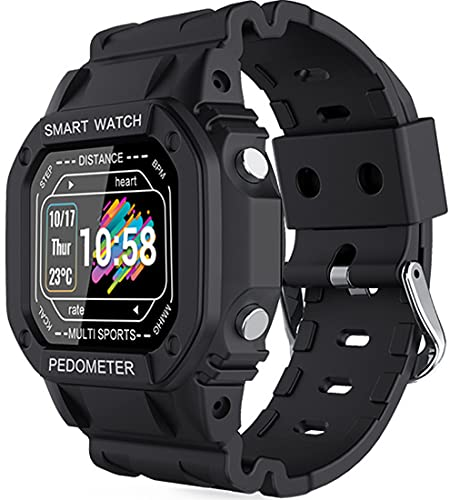 Smartwatch da uomo e da donna, fitness tracker, impermeabile IP67 cardiofrequenzimetro da polso, contapassi, tracker di attività, adatto per Android iOS (nero)