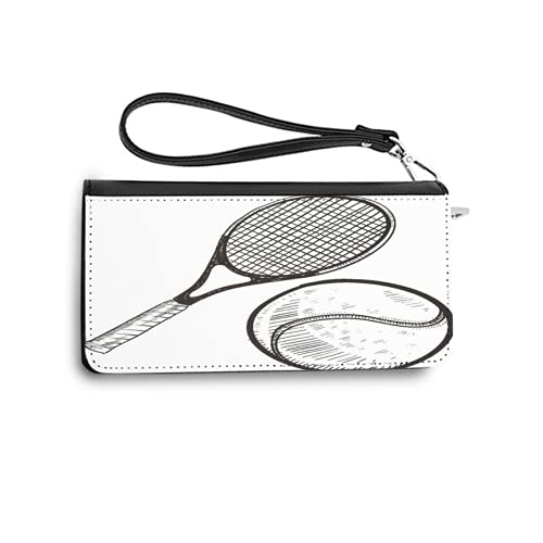 Carteras para Mujer,Boceto Estilo Doodle Pelota de Tenis y Competencia de campeones de Raquetas de Raqueta,Tarjetero de Cuero Genuino con Capacidad de Bloqueo RFID Monedero