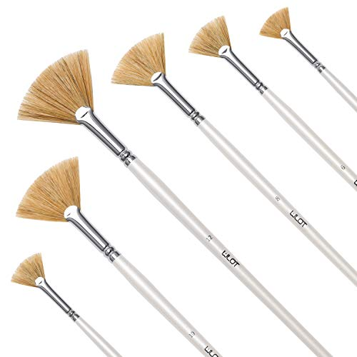 Fan Brush Set - Hog Bristle Natural Hair - Artist Soft Anti-Shedding Paint Brushes for Acrylic Watercolor Oil Painting, Long Wood Handle with Case, Set of 6